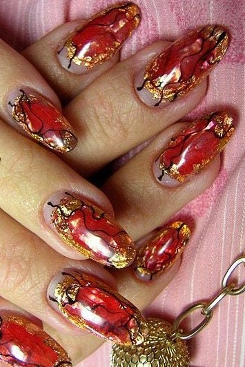 Fancy Nail Designs With Bright Red Nail Polish