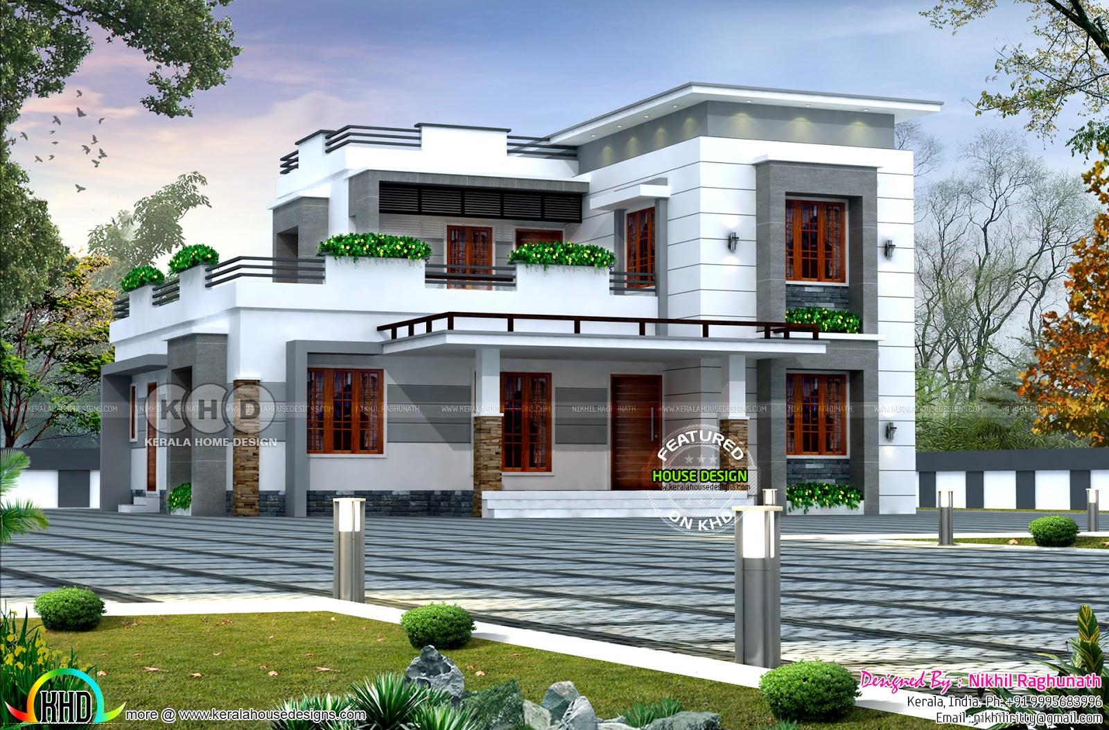 Modern flat roof home by nikhil raghunath kerala home for Flat roof house plans kerala
