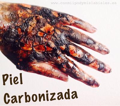 piel quemada carbonizada halloween caracterización