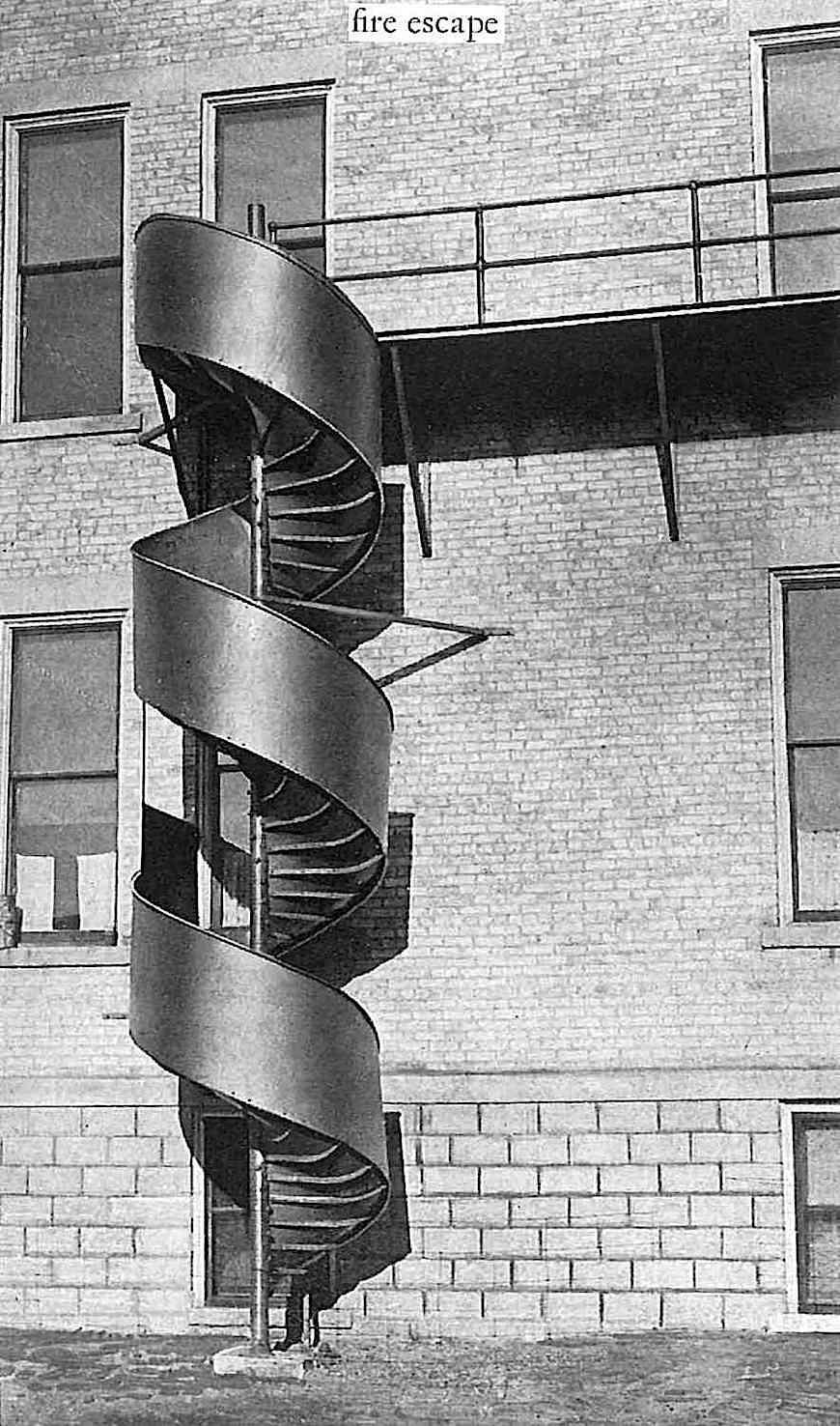 1924 spiral school fire escape, large photograph