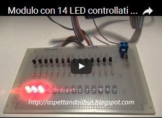 Modulo con 14 LED controllati da Arduino UNO R3 e programmato con un foglio di calcolo