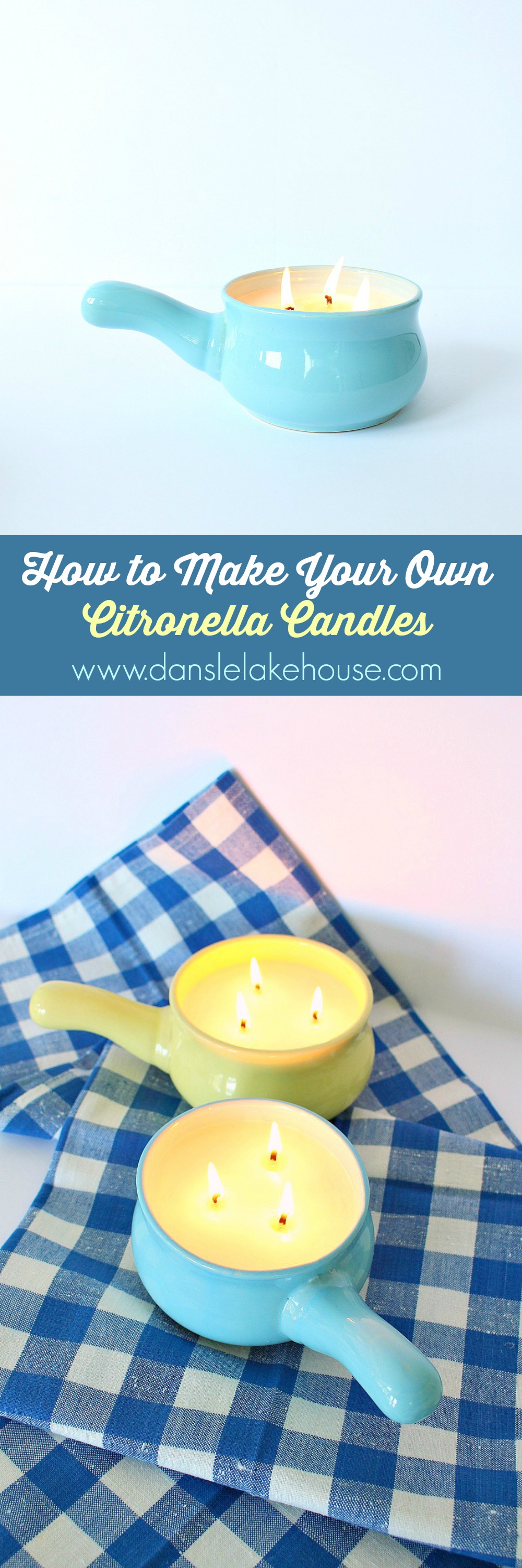 DIY Poured Soy + Citronella Oil Candles for Summer // Summer DIY Projects