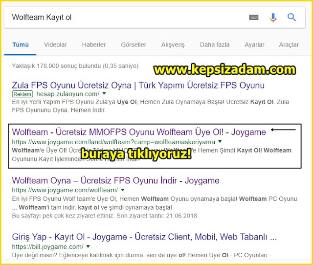 kepsizadam google joygame wolfteam kayıt ol