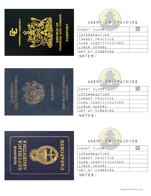 secret agent passport printable