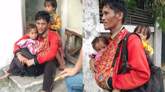 Heboh! Cerita Menyedihkan Seorang Pria Ngaku Dari Bone yang Gendong Dua Anak Kembarnya, Netizen Ungkap Fakta Sebenarnya....