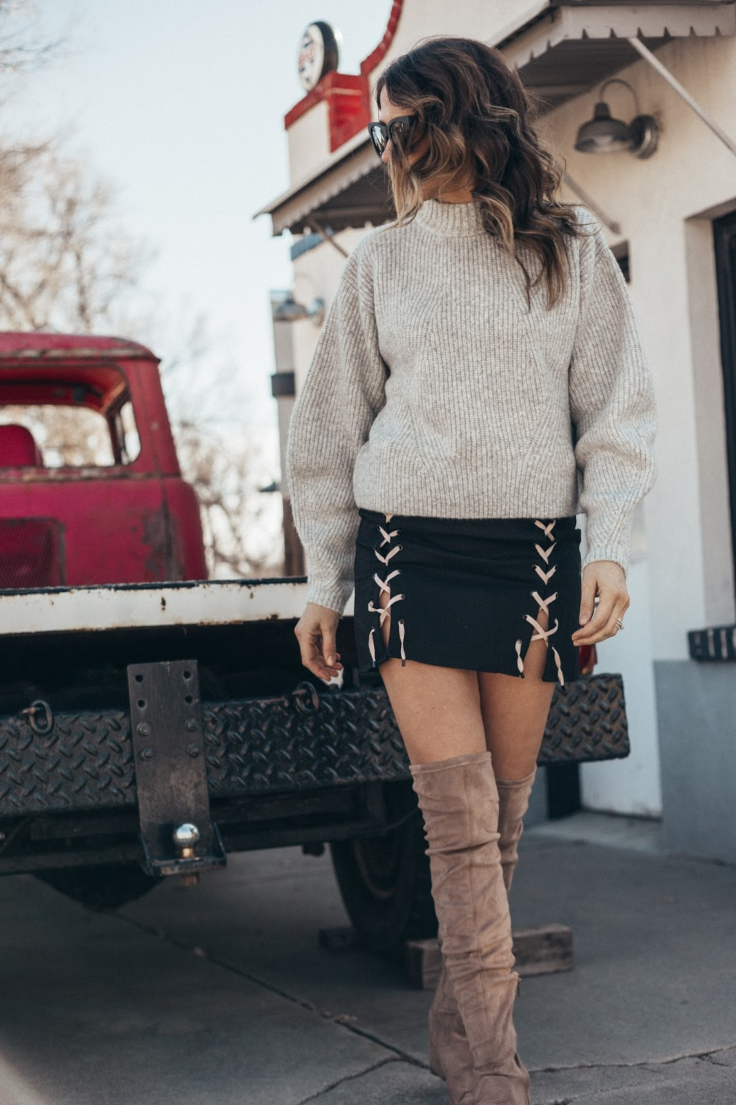 Skirt With Lacing & Sweater + OTK Boots by popular Colorado fashion blogger Eat Pray Wear Love