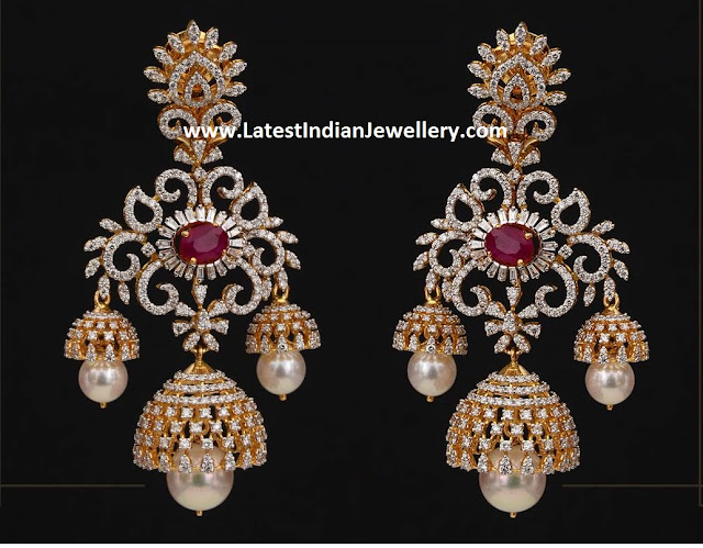 Triple Jhumka Drops Diamond Earrings