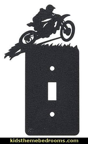 Motocross Single Light Switch Plate Cover   Dirt bike room decor - Dirt bike wall art - Motocross bedding - flame theme decorating ideas - dirt bike room stuff - dirt bike themed rooms
