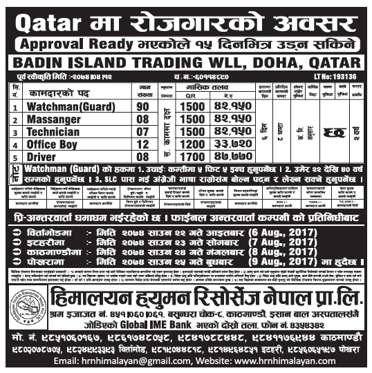 Jobs in Qatar for Nepali, Salary Rs 47,770