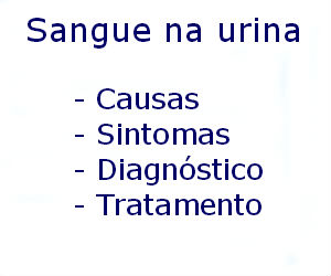 Sangue na urina causas sintomas diagnóstico tratamento prevenção fatores risco