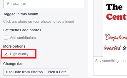 how to upload hd photo to facebook from computer