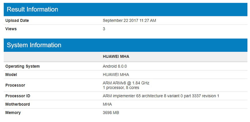Mate 9 Oreo on Geekbench