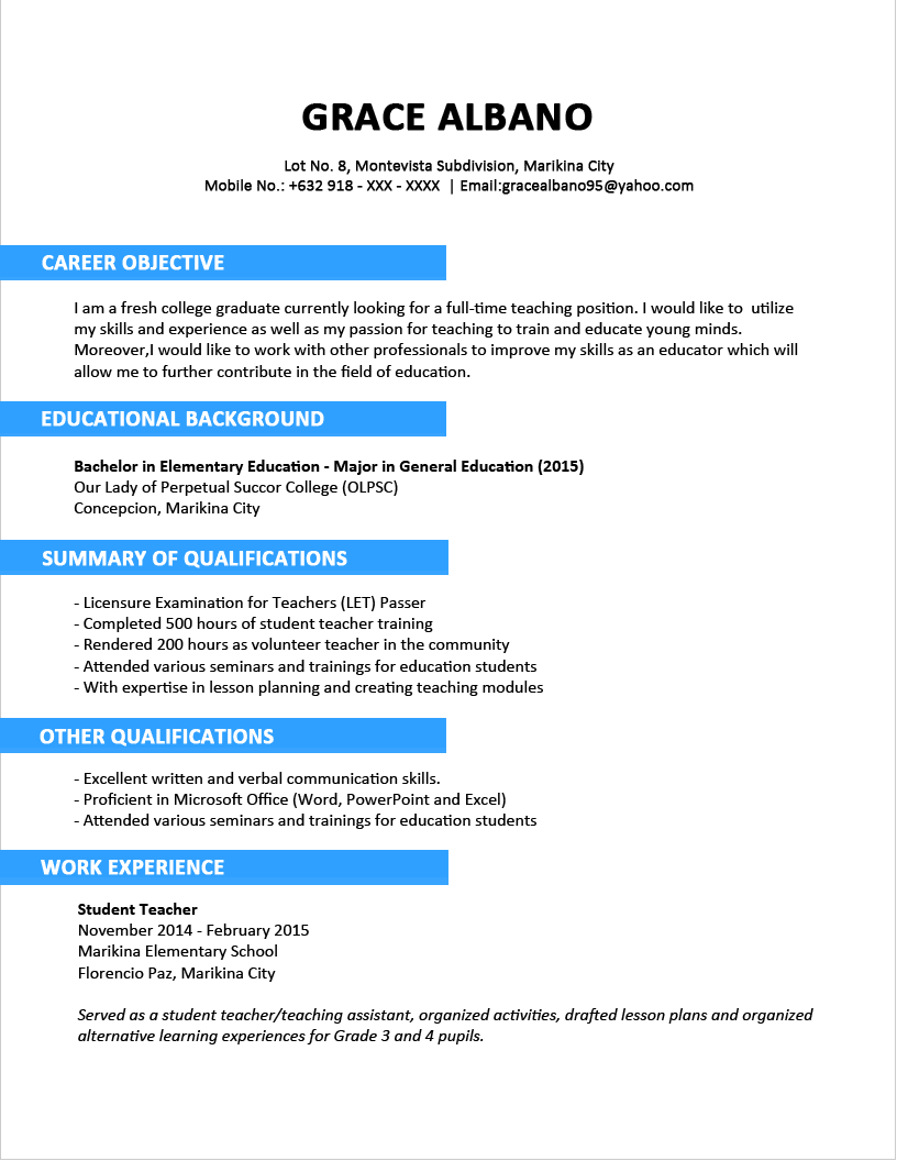 Resume Format of Fresh Graduate