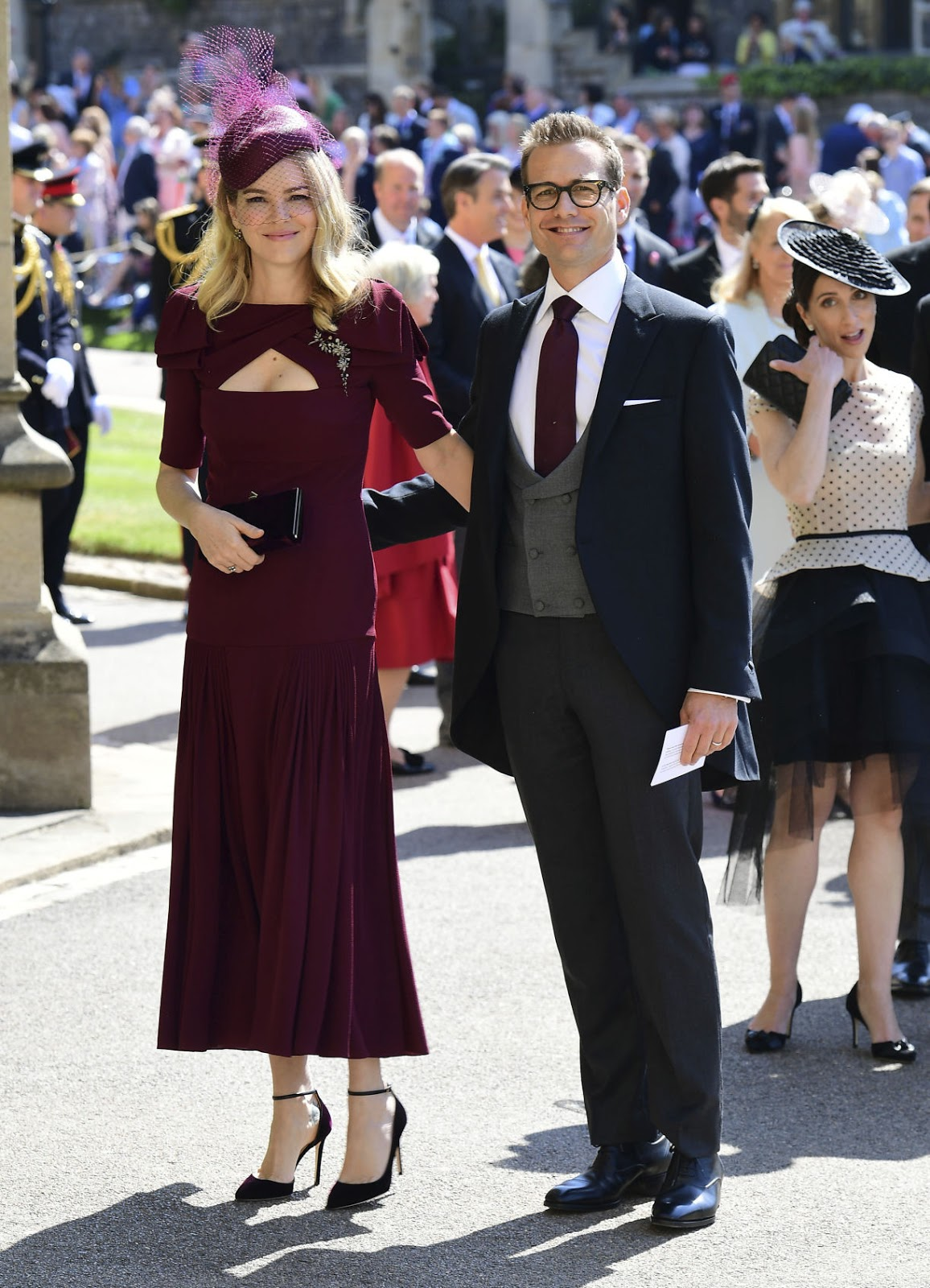 Gabriel Macht and wife Jacinda Barrett arrive for the wedding ceremony of Prince Harry and Meghan Markle at St. George's Chapel in Windsor Castle in Windsor, near London, England