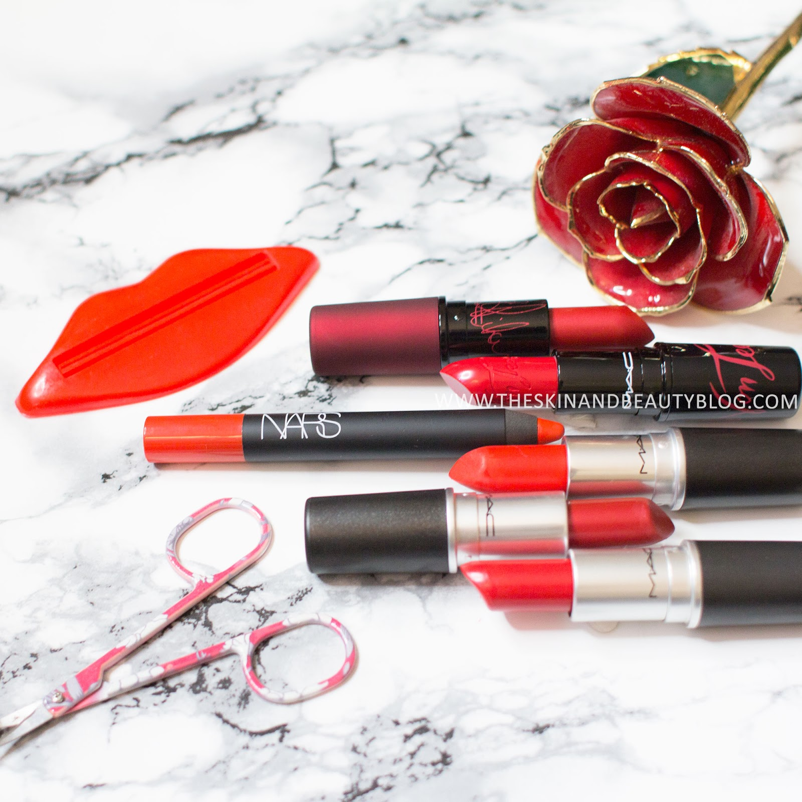 MAC Powerhouse Lipstick, MAC Lady Danger Lipstick, NARS Red Square Velvet Matte Lip Pencil, MAC Von Teese Lipstick, MAC Port Red Lipstick, MAC Port Red Lipstick Review Swatches