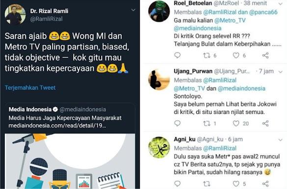 MetroTV Ditertawakan Rizal Ramli: Kalian itu Paling Partisan, Tidak Objective