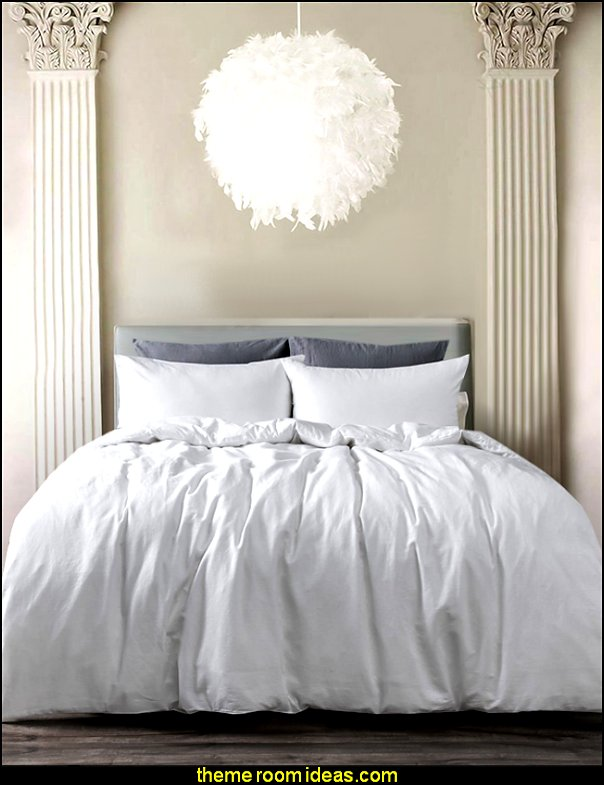 White Feather Ceiling Pendant Light Shade  mythology theme bedrooms - greek theme room - roman theme rooms - angelic heavenly realm theme decorating ideas - Greek Mythology Decorations - heavenly wall murals - angel wings decor - angel theme bedrooms