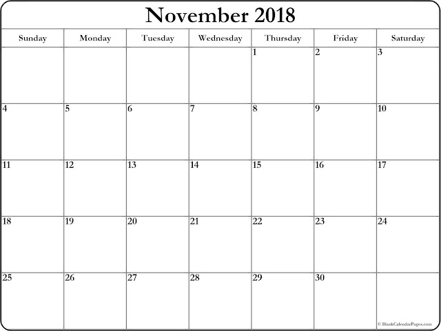 November 2018 Holiday free calendar