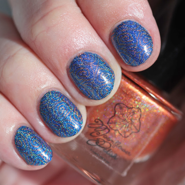 Moonflower Polish Citrino (Citrine) stamped over Zafiro (Sapphire)