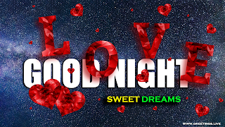 Good night love message with falling love hearts L O  V E Letters Full High Quality Creative Image