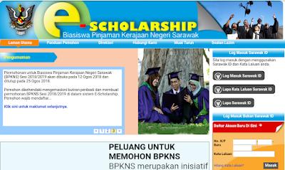 Permohonan Biasiswa Pinjaman Kerajaan Negeri Sarawak (BPKNS) 2018/2019 Online