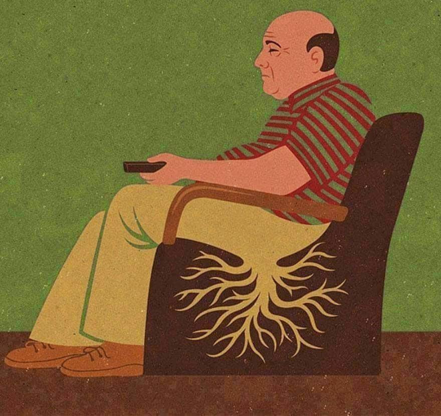 Ilustraciones con humor y problemas de hemorroides.