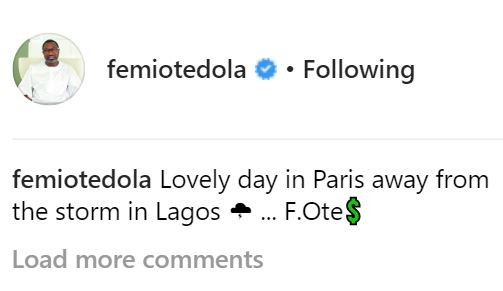 'Lovely day in Paris away from the storm in Lagos' - Femi Otedola says amidst reports he's running for Lagos Governor office