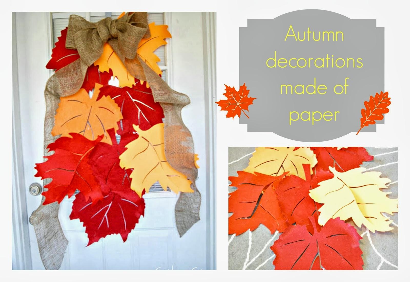 liście z papieru na drzwi