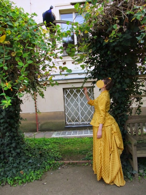 victorian, bustle, yellow, steampunk, picnic, yellow, handmade, diy, peacock
