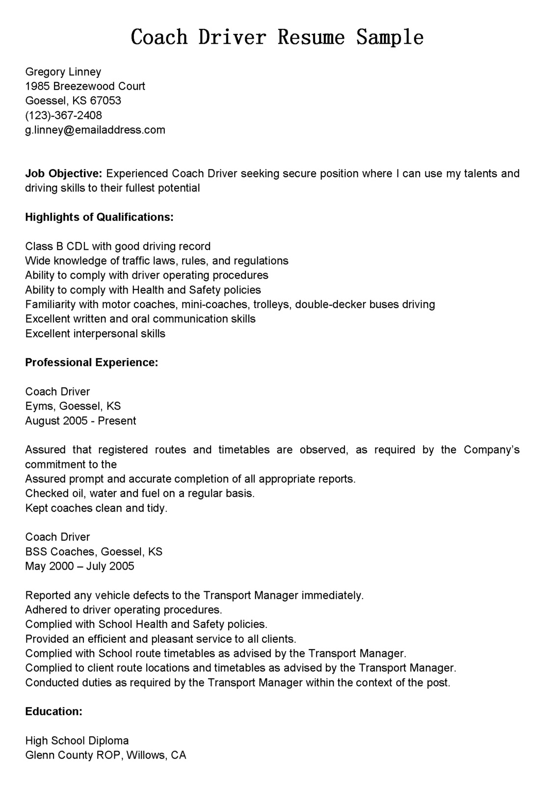 Cdl Resume Objective Examples Driver Resumes Coach Driver Resume Sample