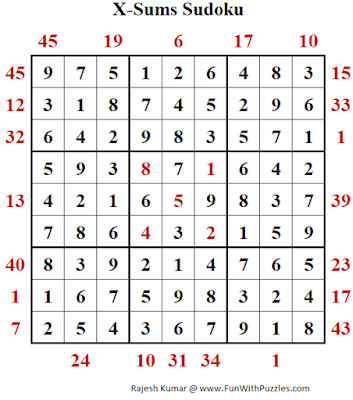 Answer of X-Sums Sudoku Puzzle (Fun With Sudoku #374)