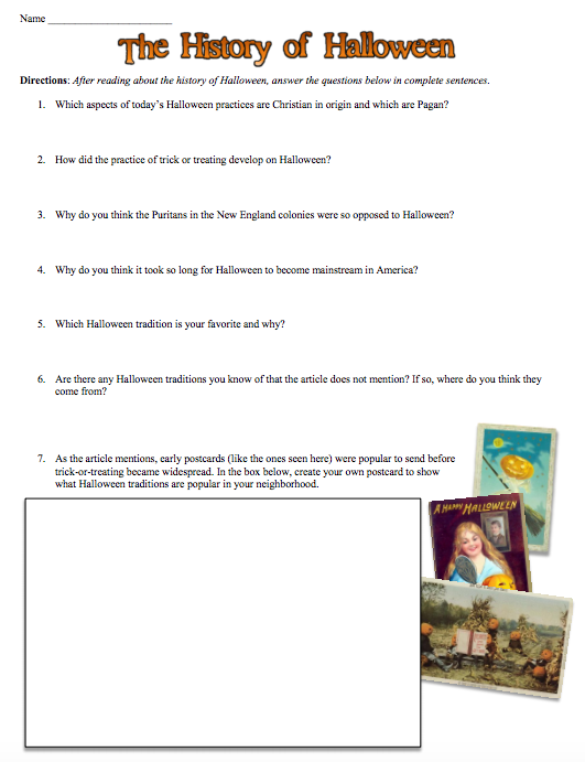 Students of History: The History of Halloween Worksheet and Guided