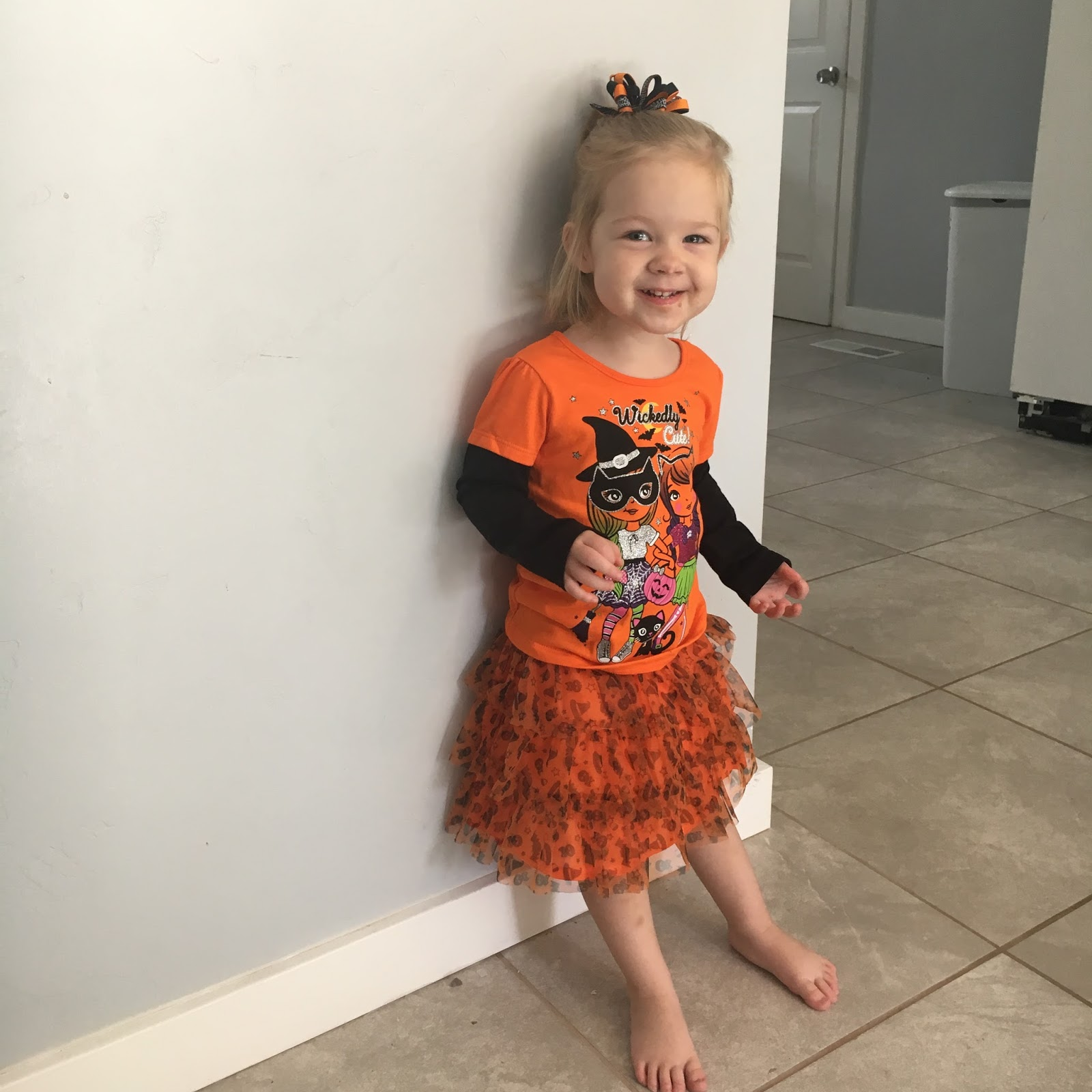 Outfit #5 This is what she wore to church and it was so cute! Dress Screaming Owl Pants Screaming Owl Bows Walmart  sc 1 st  The Holladay Life & The Holladay Life: Toddler Halloween Outfits
