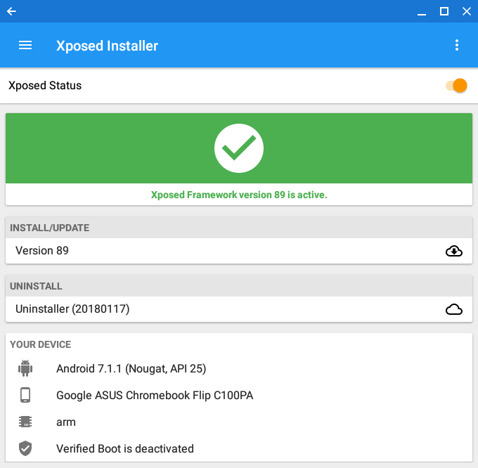 Installing Xposed in Android on Chrome OS