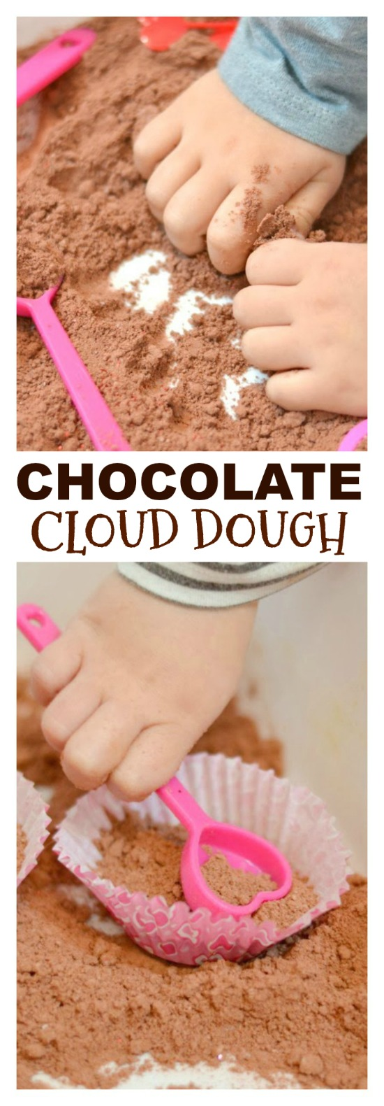 Chocolate cloud dough feels like fluffy clouds in your hands, yet it is mold-able.  So fun!  Great for Valentine's themed play