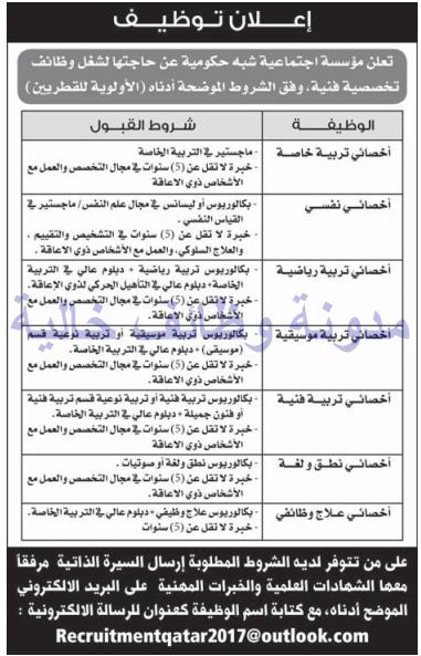 وظائف شاغرة فى الصحف القطرية الاحد 27-08-2017 %25D8%25A7%25D9%2584%25D8%25B4%25D8%25B1%25D9%2582