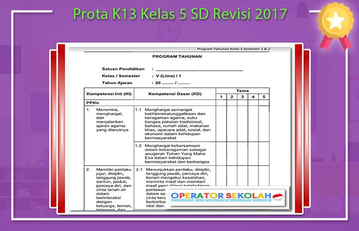 Prota K13 Kelas 5 SD Revisi 2017