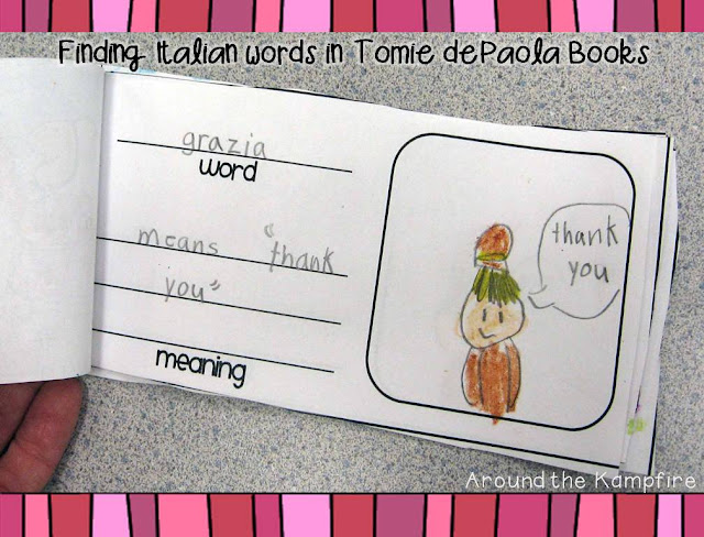 Italian dictionaries made during our Tomie dePaola author study | Around the Kampfire blog
