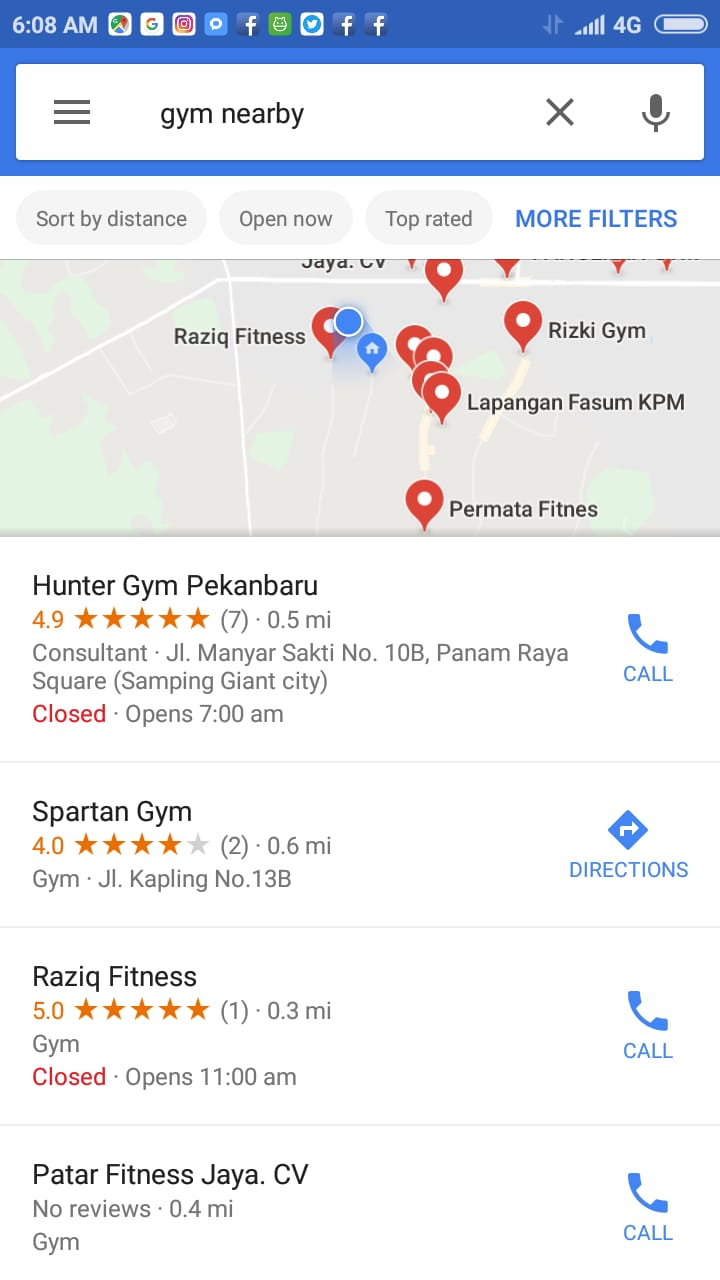 "There are many ways to find gyms near you. Searching can be done easily, just type in keywords like ""gym center"", ""Gyms near me"", ""local gyms"", ""cheap gyms near me"", or other desired keywords in the Google Maps search field. In the mobile application, the search field is at the very top of the screen"