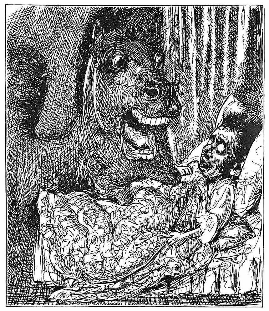 a George Du Maurier cartoon, 1898 nightmare, bad dream