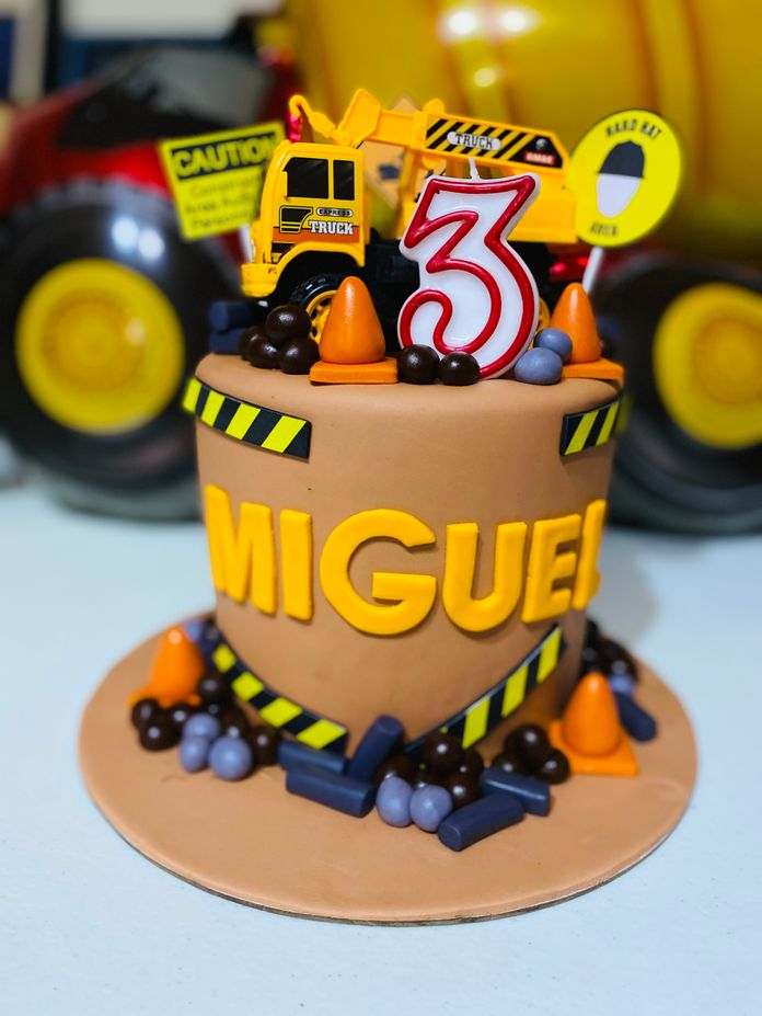Construction-themed cake made by Drizzles Bakeshop & Café for our kiddie birthday party at home