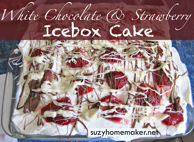 white chocolate & strawberry icebox cake | suzyhomemaker.net