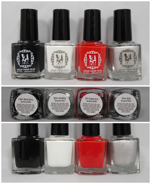 Girly Bits Little Black Dress, White Wedding, Fire Engine Red, and Silver Bells