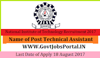 National Institute of Technology Recruitment 2017– 23 Junior Project Network Technician, Technical Assistant