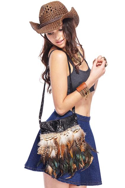Romwe Alligator Feather Bag