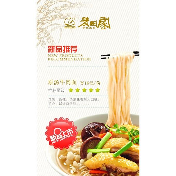 Beef noodles promotional poster design PSD file