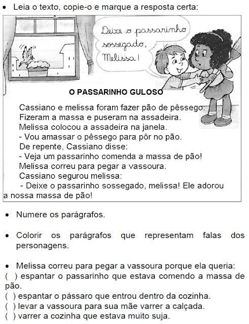 Texto O PASSARINHO GULOSO
