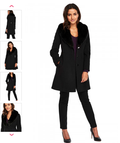 Palton dama elegant negru accesorizat cu blanita si buzunare