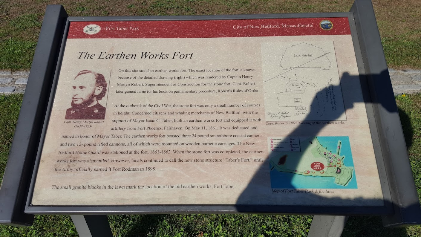 Captain Henry Martyn Roberts had been assigned there to build Fort Rodman (now called Fort Tabor Park)