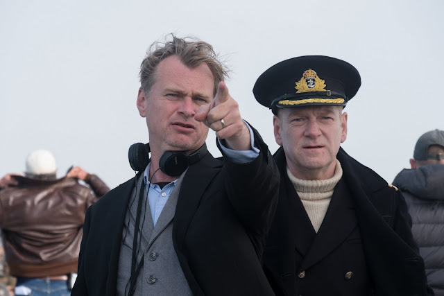 Christopher Nolan and Kenneth Branagh as Commander Bolton on the set of Dunkirk